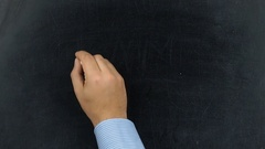 Businessman writing I am on chalkboard or blackboard Stock Footage