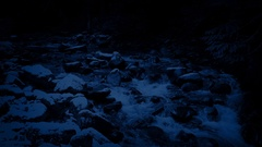 Snowy River In Forest At Night Stock Footage