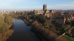 Rising aerial view of Worcester city centre, UK. Stock Footage