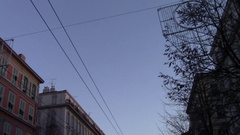 Tramway power lines - From the sky to the end of a busy street Stock Footage