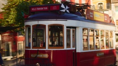 Typical tram in Alfama in Lisbon Stock Footage