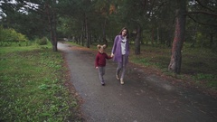 Mother and daughter walking in the autumn park Stock Footage