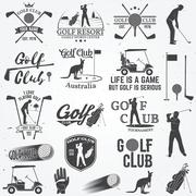 Set of Golf club concept with golfer silhouette Piirros