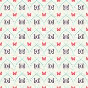 Seamless pattern with red and dark butterflies and turquoise curves stripes.. Stock Illustration