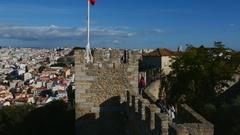 Sao Jorge Castle in Lisbon Stock Footage