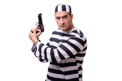 Man prisoner with gun isolated on white Stock Photos