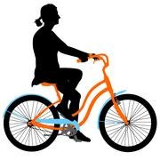 Silhouette of a cyclist girl. vector illustration Stock Illustration
