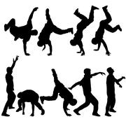 Silhouettes breakdancer on a white background. Vector illustration Stock Illustration