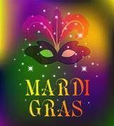 Mardi Gras mask, colorful poster, template, flyer. Vector illustration. Piirros