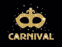 Carnival golden glitter mask, poster, flyer, invitation. Party, masquerade... Stock Illustration