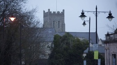 Typical English Church in the fog Stock Footage