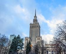 Palace of culture and science landmark of Warsaw Stock Photos