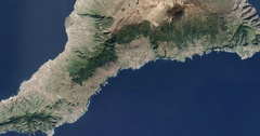 High-altitude overflight aerial of Tenerife, French Canary Islands. Stock Footage