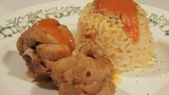 Home meal of chicken and rice Stock Footage