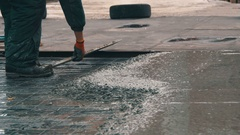 Alignment Concrete Screed on the Roof Stock Footage