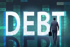 Businessman in debt business concept Piirros