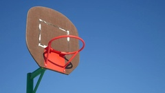 Old basketball hoop, street basketball throw the ball in the basket sport Stock Footage