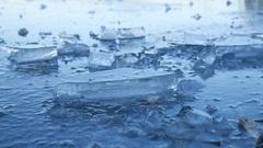 Ice frozen water on the river ice break debris beautiful winter landscape nature Stock Footage