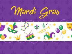 Mardi Gras poster with mask, beads, trumpet, drum, fleur de lis, jester hat.. Stock Illustration