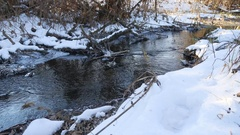 Forest river flowing water late winter a melted nature ice landscape, arrival of Stock Footage
