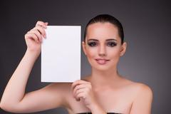 Beautiful woman with blank message paper Stock Photos