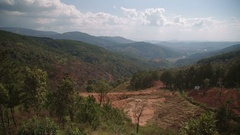 Panning beautiful view of the mountains Plateau around Da Lat city Dalat Stock Footage