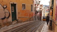 Bica Funicular in Lisbon Stock Footage