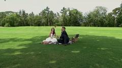 Wedding couple on picnic. Stock Footage