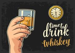 Male hand holding glass whiskey and antique pocket watch Stock Illustration