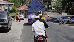 Indonesian Street Trafic Car Motobike Culture Asia Slowmotion Stock Footage