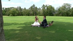Wedding couple on a picnic. Stock Footage