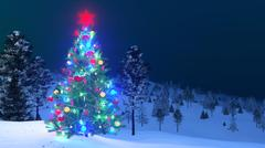 Outdoor decorated Christmas tree at night Stock Illustration