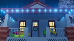 House decorated for Christmas at night Close up Stock Illustration