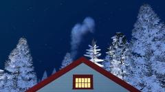 Frontal house gable and winter night sky Stock Illustration