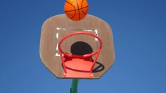 Old basketball hoop, street basketball sport throw the ball in the basket Stock Footage