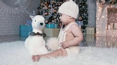 Christmas children play, rejoice Stock Footage
