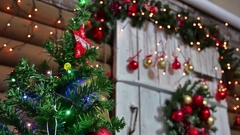 Christmas gifts interior tree New Year and room toys blinking lights and Stock Footage