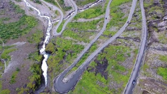 Winding switchbacks aerial Trollstigen trolls ladder Norway Stock Footage