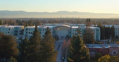 Aerial Shot Of Apple Headquarters In Cupertino California. Stock Footage