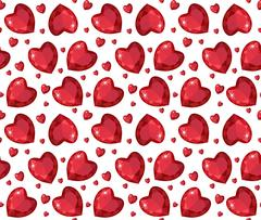 Jewelry ruby red heart seamless pattern. Brilliant, gems hearts endless bac.. Stock Illustration