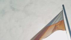 The Wind Rustles A Polish Flag Stock Footage