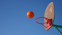 Old sport basketball hoop, street basketball throw the ball in the basket Stock Footage