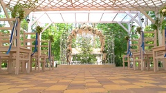 Wedding arch and chairs. Stock Footage