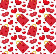 Cute seamless pattern Valentines day with gift bag, heart, kiss, lips. Love.. Piirros