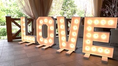 Illuminated love letters. Stock Footage