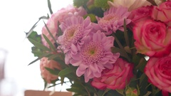 Decorative bouquet of flowers decorated close up flower Stock Footage