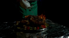 Chef is preparing flambe meat. Stock Footage