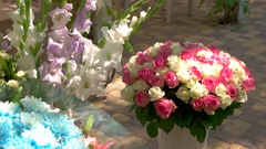 Bouquets of different flowers. Stock Footage