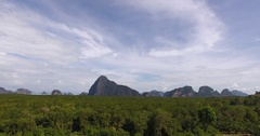 Aerial view of the beautiful marine reserve phang nga Stock Footage