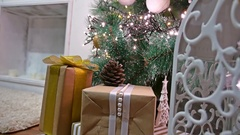 Christmas gifts interior tree room and New Year toys blinking lights and Stock Footage